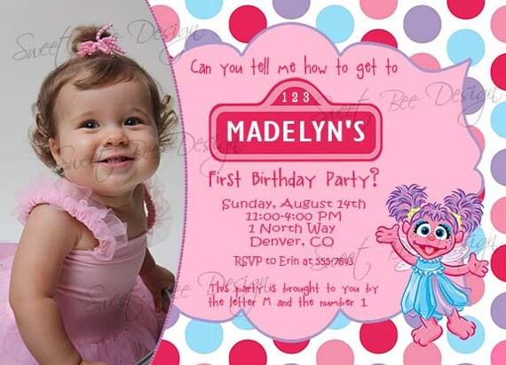 Abby Cadabby Birthday Invitation, Abby Cadabby Birthday Photo Invitation, Abby Cadabby Birthday Party- Custom Printable