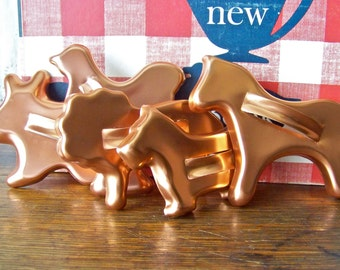 Vintage Cookie Cutters Copper Tone Aluminum Cookie Cutter Animal Set Lion Scotty Dog Cookie Cutter Rabbit Horse Metal Cutter Vintage 1980s