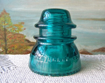 Vintage Turquoise Insulator Hemingray 42 Insulator Collector Telephone Lines Vintage 1900s