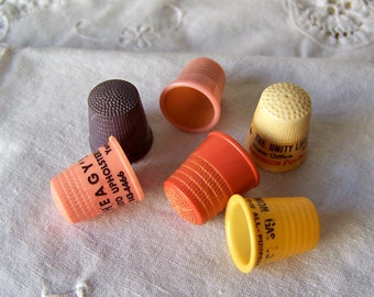 Vintage Plastic Thimble Collection Set Of 6 Advertising Thimbles Sewing Room Thimble Collector Vintage 1980s