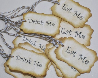 10 Eat Me Drink Me Paper Tags Vintage - Alice in Wonderland - Wedding Tags- Bridal Shower Tags- Baby Shower - Tea Party