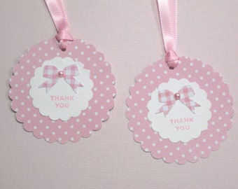 Set of 10 Pink White Baby Shower Tags- It's a Girl - Gift Tags - Baby Tags - Paper Tags - Polka Dot Tags - Thank You Tags - Bow Tags