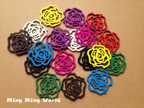9 Pairs Rose Hollow Out Colorful Wood Pendant For Earrings,Jewelry Supply,Wood chips Embroider.