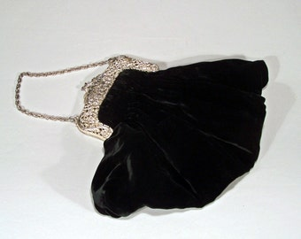 Ruched Silk Velvet Evening Bag with Silver Plated Relief Frame and Chain - Roaring 20's