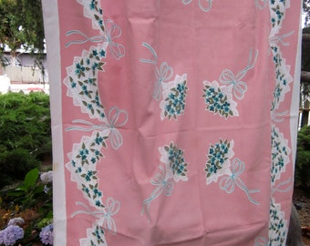 Vintage Printed Cotton Canvas PINK Floral Bouquet Ribbon Bow Tablecloth A1