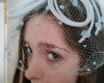 SALE 50 Percent Off 20. Now ONLY 10. Vintage 50's 60's Sky Blue Netted Fascinator Hat Haircovering Wedding Something Borrowed Something Blue
