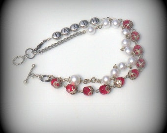 Unique red and white rosary bracelet - retro beads - white pearls and red crystals rosary bracelet