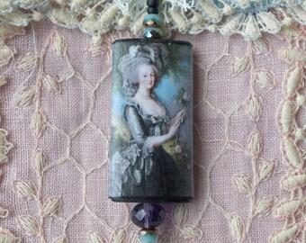 Marie Antoinette Wood Pendant, portrait pendant, marie wear