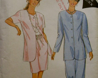 STYLE 2585,  1995 fashion jacket, skirt, pants suit; set in sleeves, princess seams, elastic waist skirt and pants, size Misses 8 - 18