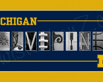 University of Michigan Wolverines Alphabet Photo Collage