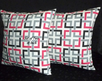 Throw Pillows, Pillow Covers, Decorative Pillows, Toss Pillows -   Set of Two 18 Inch - Black, White, and Hot Pink