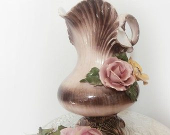 Gorgeous Ruffled Hand Painted Pitcher