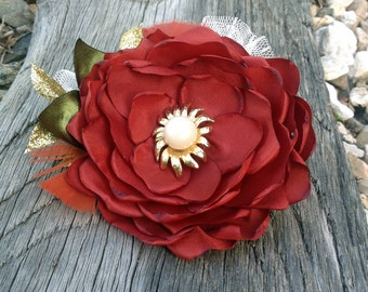 Handmade Copper Orange Fabric Hair Flower