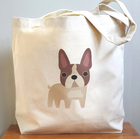 French bulldog tote, oh so cute and adorable. New size.