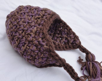 Chunky Baby Crochet Earflap Hat - Girl - 0/6 month - Purple/Tan/Brown with Earflaps and Ties