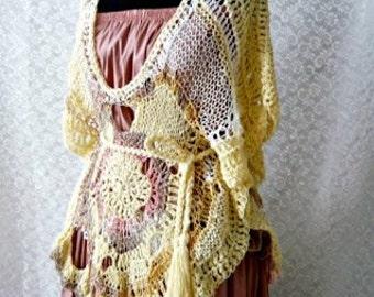 Crocheted and knitting  woman vest Summerland,gift for she,vest,romantic,for summer,autumn,spring