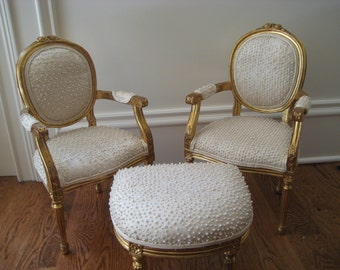 RESERVED Miniature Louis XVI Fauteuil Gilt and Peril Chairs with Ottoman