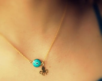 FREE SHIPPING- cuttlefish necklace- gold charm necklace- evil eye jewelry- beach jewelry- turquoise gold beach fashion