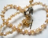 Beige Freshwater Pearl and Amber Crystal Necklace