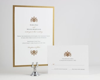 Formal Wedding Invitations Gold Wedding Invitation - Sample