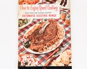 Retro vintage GE Automatic Electric Range Speed Cooking Recipe Book - 50s mid century compact oven 1950s