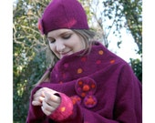 Dark pink roll necked poncho style sweater ensemble