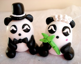 Panda Cake Toppers Wedding Cake Decor Bride and Groom Keepsake Anniversary Cake Topper Panda Bear Wedding Topper