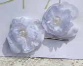 Bobby Pin Set Hand Made White Fabric Flowers