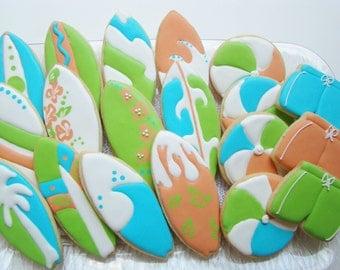 Surf boards, shorts and beach balls-sugar cookies