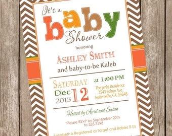 Fall baby shower invitation, orange, brown, green, autumn baby shower invitation, typography, printable invitation Fall1