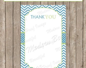 Thank You Note Card - Blue, Green Chevron Baby Shower Printable 4x6 Thank You Note Cards-  fb1 INSTANT DOWNLOAD