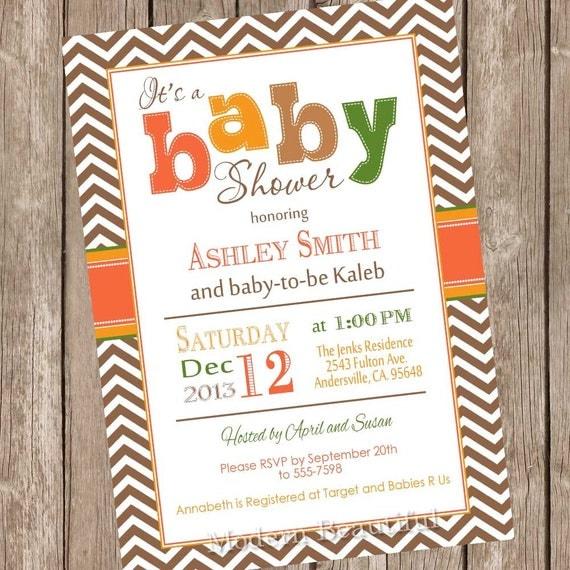 fall baby shower invitation orange brown green autumn baby shower