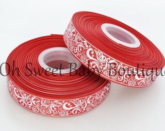 "Red 7/8"" Fancy Swirls With Foil Accents Ribbon"