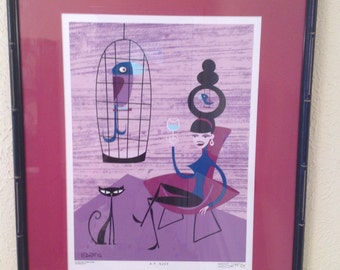 SALE! Signed SHAG print 8/25 with groovy tiki frame
