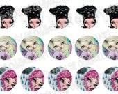Bottlecap Images Digital Collage Sheet One Inch Circles Dream Girls 4x6 Bottle Caps
