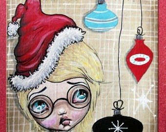 Mixed Media Whimsical Big Eyed Art Giclee Print Retro Christmas Boy Hangs His Ornaments by Lizzy Love
