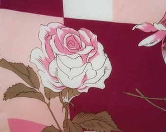 Silk Scarf, Vintage Scarf, Pink Roses, 100% Silk Scarf, Fabric, Crafts, Supplies, Sewing, Quilting Fabric, Charter Club Scarf,