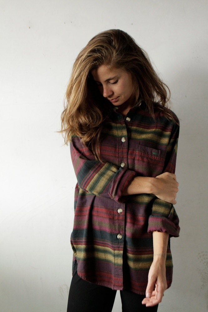 90s southwest flannel ikat style bright shirt button up down for Button up flannel shirts