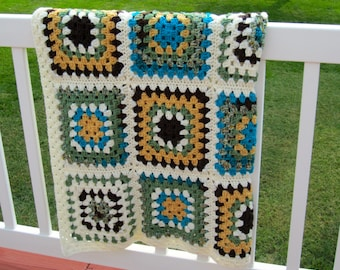 afghan crochet granny square earth tones green brown beige turquoise gold ivory handmade ready to ship