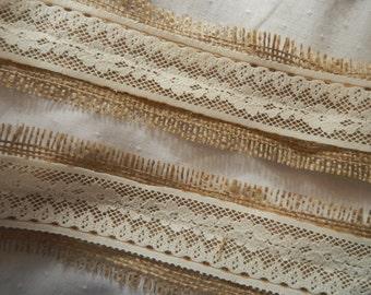 Burlap and Vintage Lace Fabric Ribbon, READY to SHIP, Wedding DIY, Mason Jar Wrap, Crafting