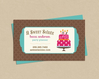 Double Sided Printable Business Card A Sweet Soirée Party Planner - Cake - Birthday - Events