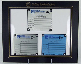 Rare UTC Turbo Power & Marine Turbine Ancillary Skid id Tags Ft8 V64 V84 Presented in Corporate Frame Display