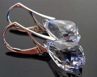 Swarovski Crystal Clear Leverback Sterling Silver Earrings