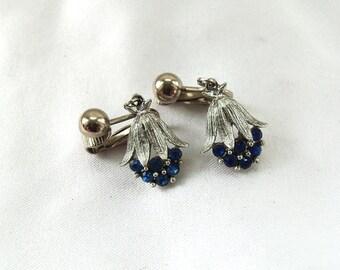 Silver n Blue Earrings, Vintage 1960s deep blue rhinestone clip on earrings, Vintage Rhinestone Jewelry