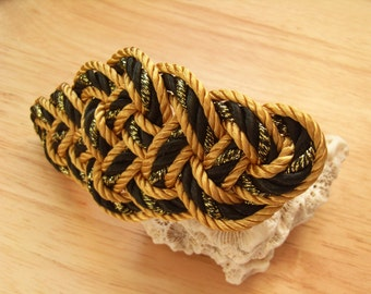 Chinese Knot Barrette (Cloud Knot) - Gold, Black with gold fleck