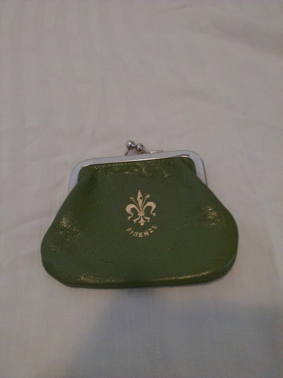 Vintage green italian leather firenze coin purse for Coin firenze