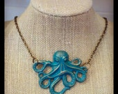10-115 Hand Painted Brass Octopus Necklace