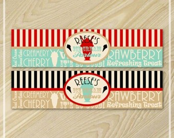 Ice Cream Party - Water Bottle Labels - Ice Cream Birthday Party