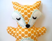 Fox Stuffed Animal - Sleepy Orange and Cream Polka Dot Fox Pillow