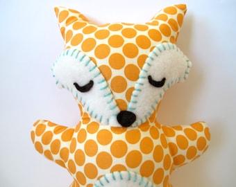 Fox Stuffed Animal - Sleepy Orange and Cream Polka Dot Fox Pillow